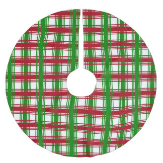 Christmas Holiday Red Green Plaid Decorative Brushed Polyester Tree Skirt