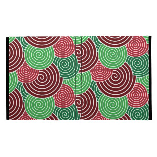 Christmas Holiday Red Green Spiral Pattern iPad Folio Case