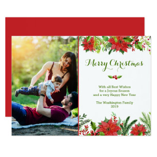 Christmas holiday red poinsettia watercolor photo card