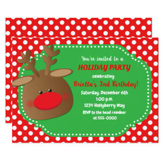 Christmas Holiday Reindeer Polka Dot Invitations