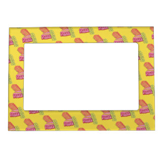 Christmas Holiday Ribbon Candy Xmas Foodie Yellow Magnetic Frame