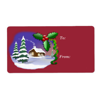 Christmas Holiday Shipping Label