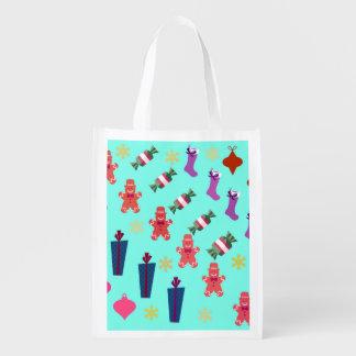 Christmas Holiday Shopping Reusable Bags Reusable Market Totes