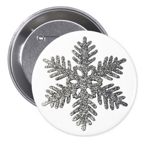 Christmas Holiday Silver Snowflake Star Design Pins