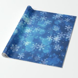 Christmas Holiday Sparkles & Snowflakes Blue Wrapping Paper