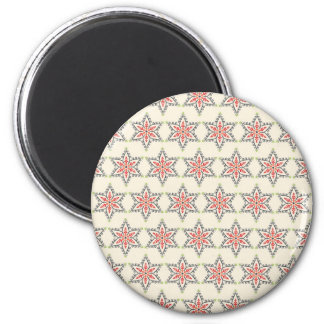 Christmas Holiday Stars Patterns for Xmas 6 Cm Round Magnet