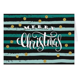 Christmas Holiday - Teal Merry Christmas Lines Card