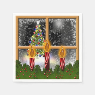 Christmas Holiday Tree Candles Decorated Window Paper Napkins