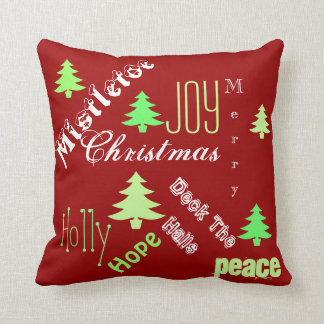 Christmas holiday tree wishes cushion