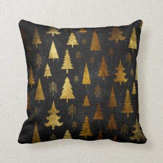 Christmas Holiday - Trees Gold on Black Cushion
