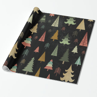 Christmas Holiday - Trees on Black Wrapping Paper
