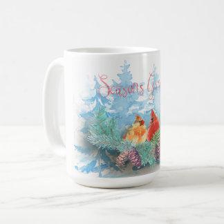 Christmas Holiday - Watercolor Cardinals Trees Coffee Mug