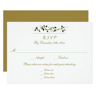 Christmas Holiday Wedding 3 Entree RSVP Response Card