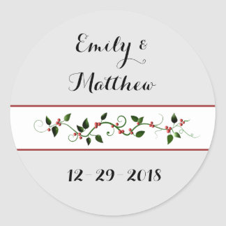 Christmas Holiday Wedding Couple's Holly Vine Classic Round Sticker
