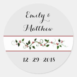 Christmas Holiday Wedding Couple's Holly Vine Round Sticker