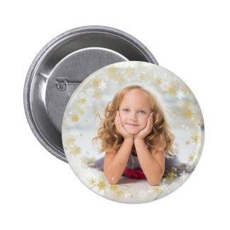 Christmas Holiday - White & Gold Snowflake Frame 6 Cm Round Badge