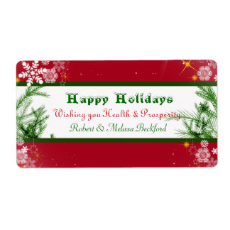 Christmas Holiday  Wine Label Shipping Label