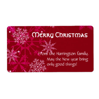 Christmas Holiday Wine Label Red and White Shipping Label