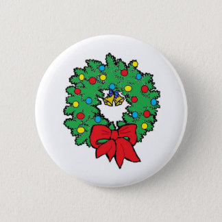 Christmas holiday wreath 6 cm round badge