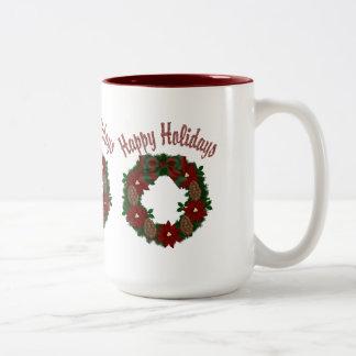 Christmas Holiday Wreath - Customizable Mugs