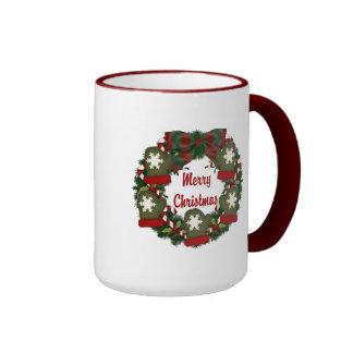 Christmas Holiday Wreath - Customizable Coffee Mugs
