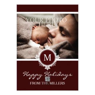 Christmas Holiday Wreath Monogram in Burgundy Card