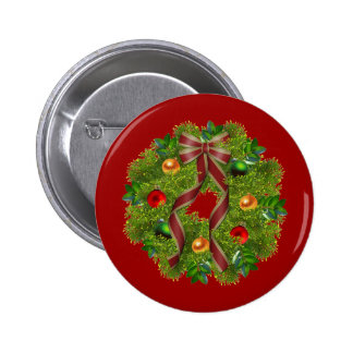 Christmas Holiday Wreath Red Bow Button