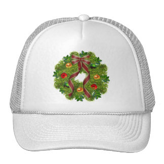 Christmas Holiday Wreath Red Bow Cap