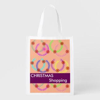 Christmas Holiday Wreath Shopping Reusable Bags