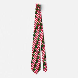 Christmas Holiday Xmas Trees Candy Cane Stripes Tie