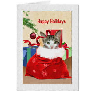 Christmas Holidays, Cat Under Tree Greeting Card