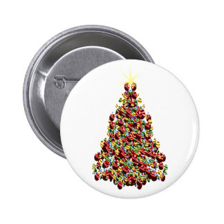 Christmas Holidays Decorated Tree 6 Cm Round Badge