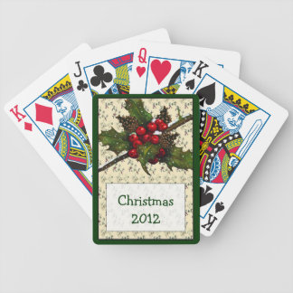 Christmas: Holidays: Holly, Berries, Pine Cones Deck Of Cards