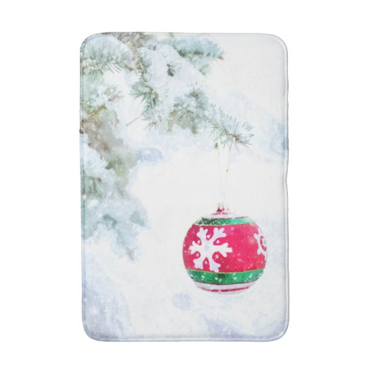 Christmas holidays pine snow classic watercolor bath mat