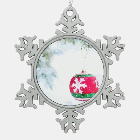 Christmas holidays pine snow classic watercolor snowflake pewter christmas ornament