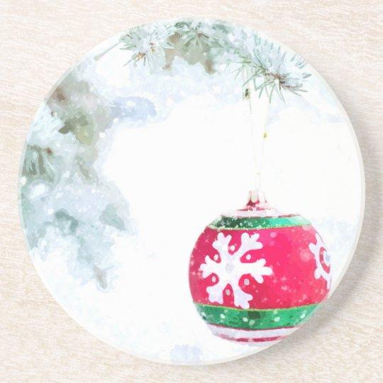 Christmas holidays pine snow watercolor coaster