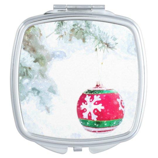 Christmas holidays pine snow watercolor compact mirror