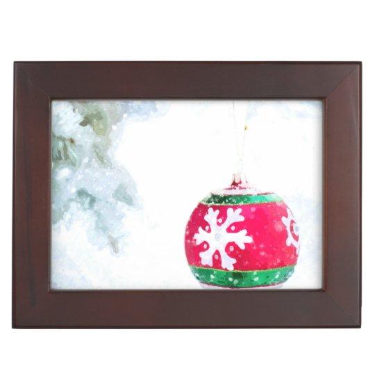 Christmas holidays pine snow watercolor keepsake box