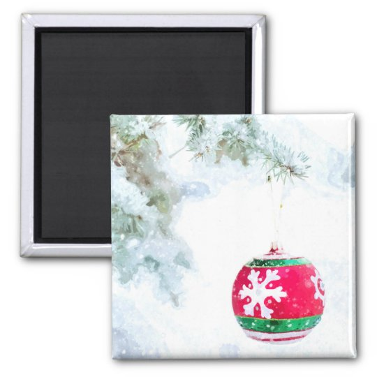 Christmas holidays pine snow watercolor magnet