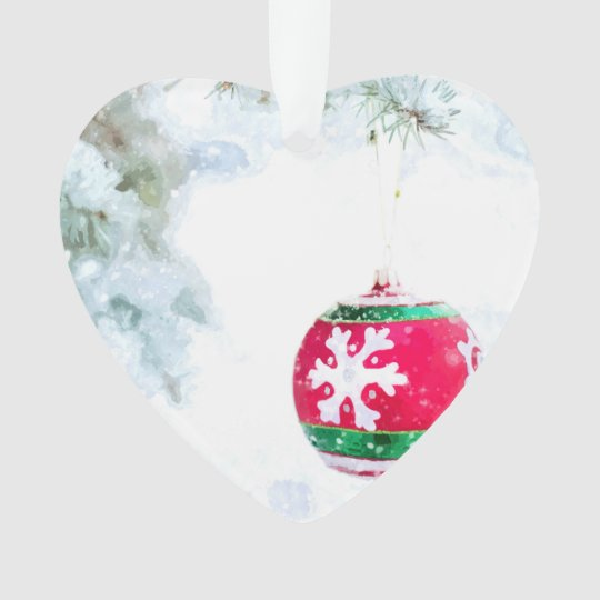 Christmas holidays pine snow watercolor ornament