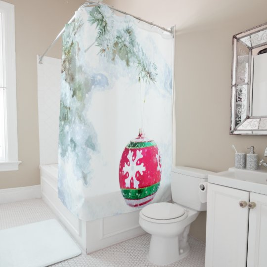 Christmas holidays pine snow watercolor shower curtain