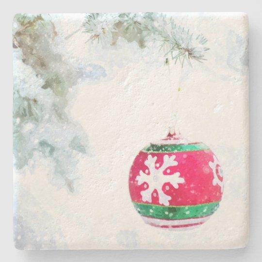 Christmas holidays pine snow watercolor stone coaster