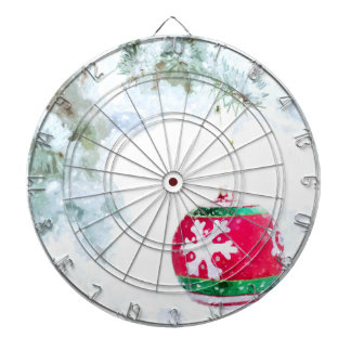 Christmas holidays white snow watercolor dartboard
