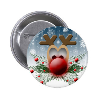 Christmas Holidays Winter Reindeer 6 Cm Round Badge