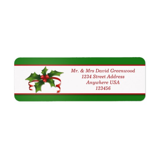 Christmas Holly address Avery Label