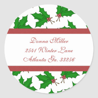 Christmas Holly Address Labels Round Sticker