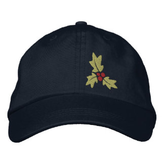 Christmas Holly And Berries Embroidered Cap