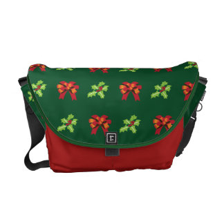 Christmas holly and bow messenger bags