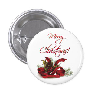 Christmas Holly and Pines Button