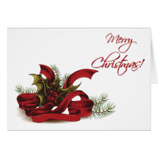 Christmas Holly and Pines Card